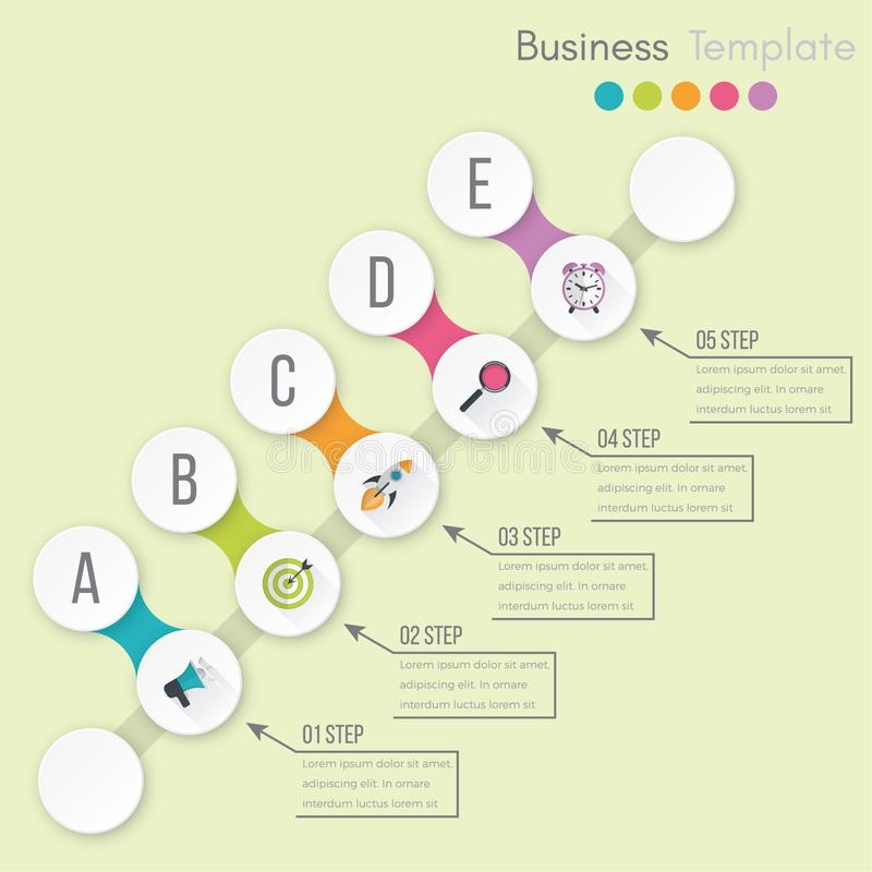 Business data visualization. Process chart. Abstract elements of graph, diagram with steps, options, parts or processes. Vector royalty free illustration