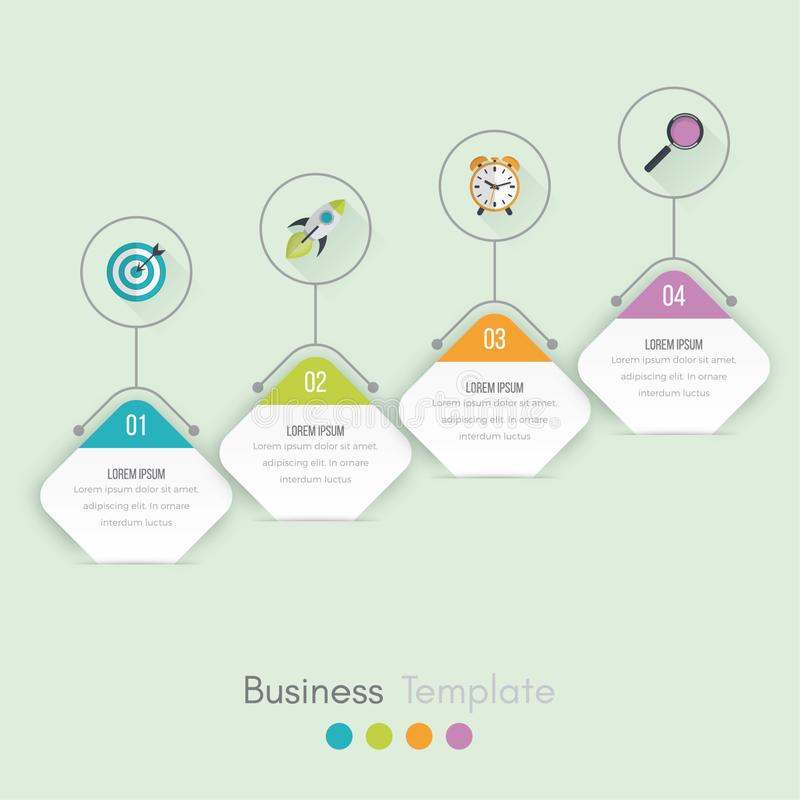 Business data visualization. Process chart. Abstract elements of graph, diagram with steps, options, parts or processes. Vector. Business template for royalty free illustration