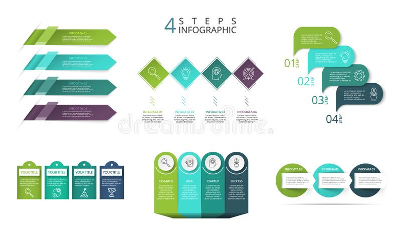 Business data visualization. Process chart. Abstract elements of graph, diagram with 3, 4 steps, options or processes vector illustration