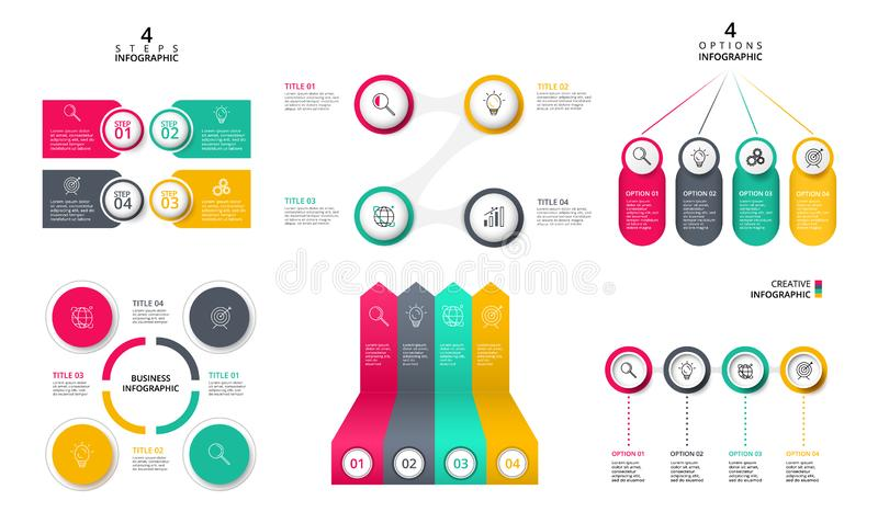 Business data visualization. Process chart. Abstract elements of graph, diagram with 4 steps, options or processes. Vector business template for presentation stock illustration