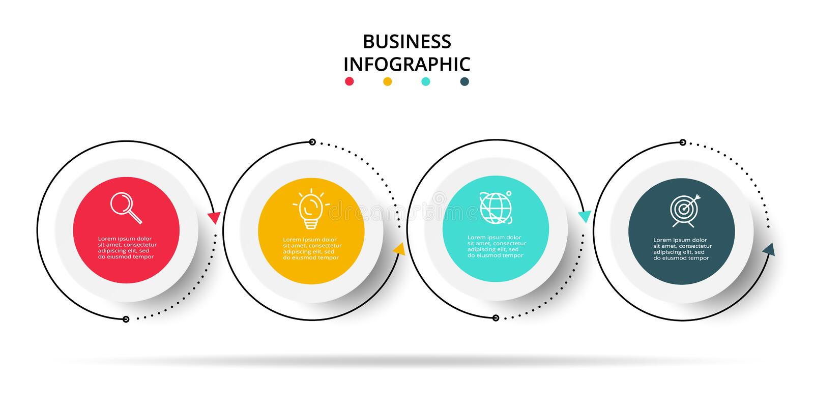 Business data visualization. Process chart. Elements of graph, diagram with 4 steps, options, parts or processes. Vector business template for presentation vector illustration