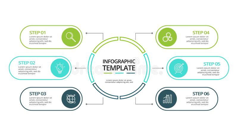 Business data visualization. Process chart. Elements of graph, diagram with 6 steps, options, parts or processes. Vector business template for presentation vector illustration