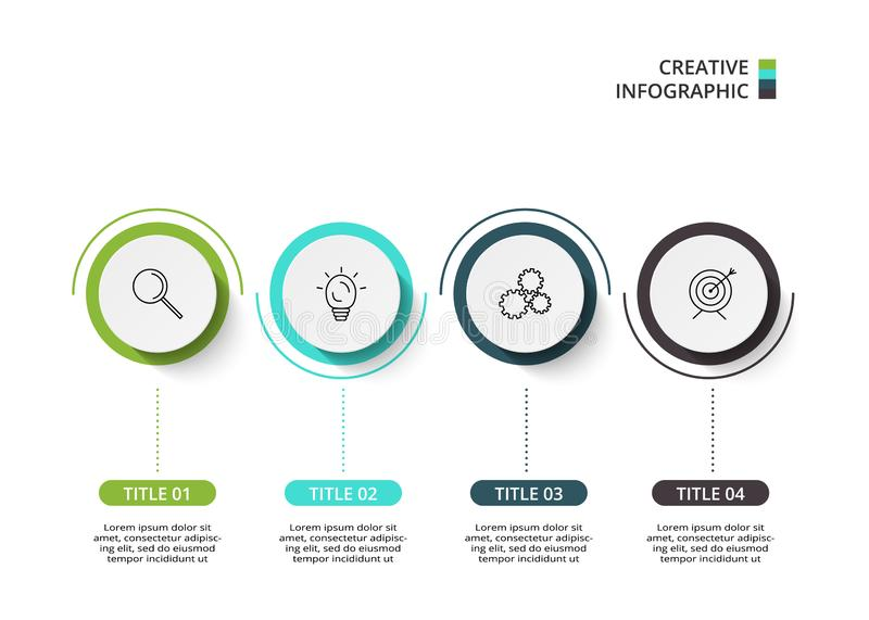 Business data visualization. Process chart. Elements of graph, diagram with 4 steps, options, parts or processes. Vector business template for presentation stock illustration