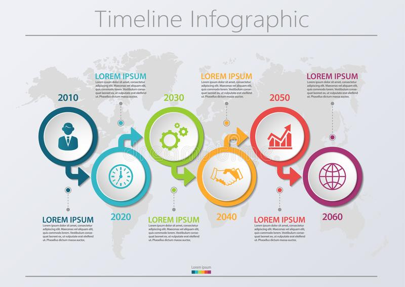 Business data visualization. timeline infographic icons designed for abstract background template with 6 options. royalty free stock photography