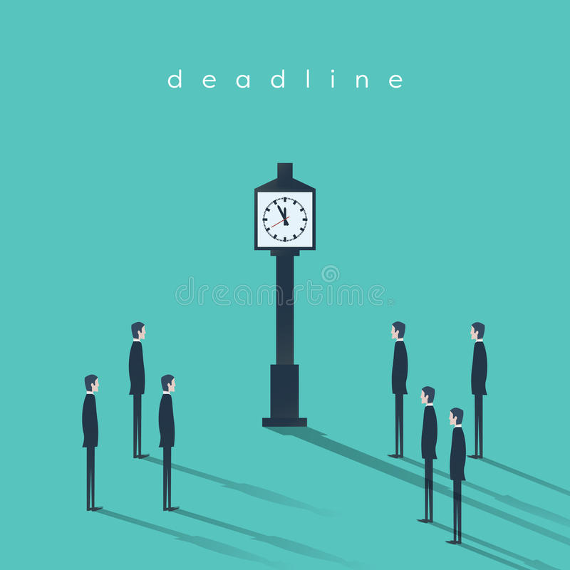 Business deadline concept vector background with a businessman and clock. Project management abstract illustration. royalty free illustration