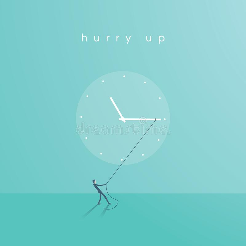 Business deadline or time vector concept. Businessman pulling minute hand. vector illustration