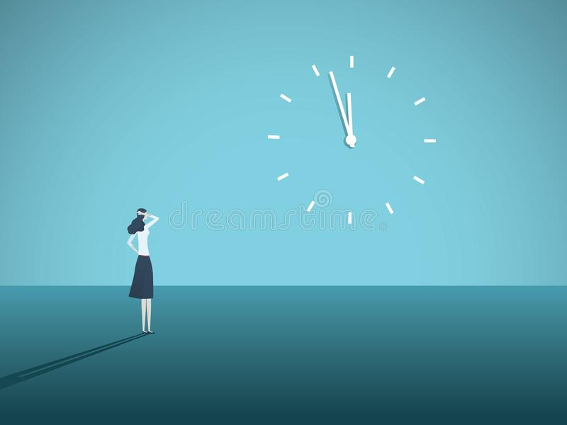 Business deadline vector concept with businesswoman staring at a clock on the wall. Symbol of stress at work, management royalty free illustration