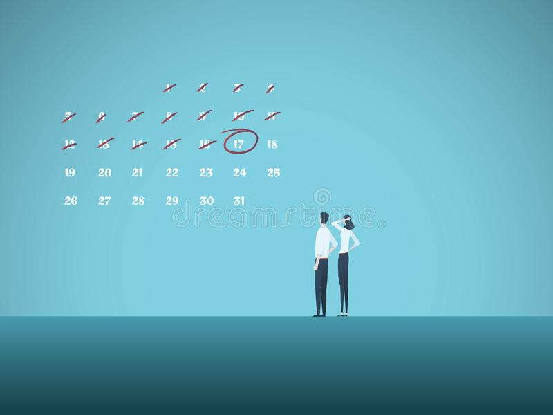 Business deadline vector concept with man and woman looking at calender. Symbol of project management, milestones. Planning, goals and stress. Eps10 vector royalty free illustration
