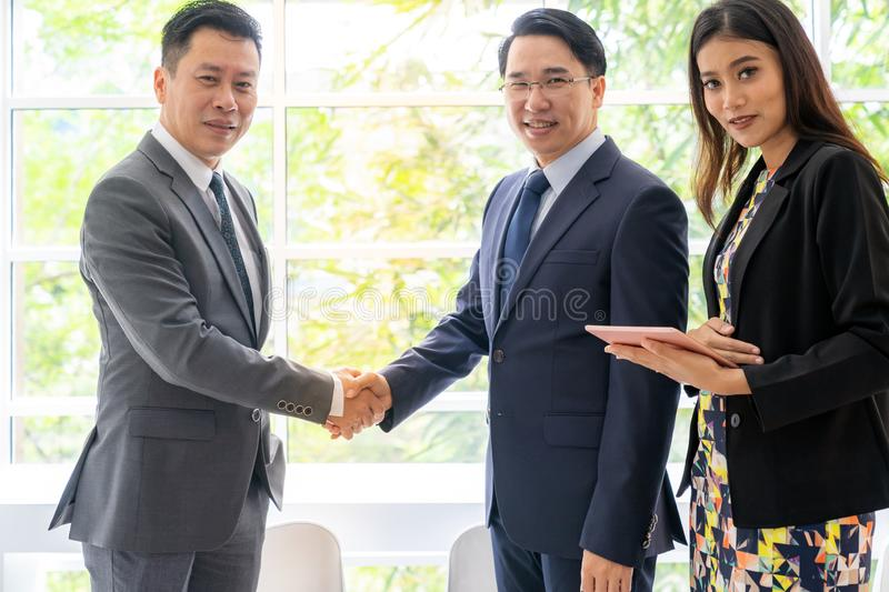 Business deal in cafe stock photos