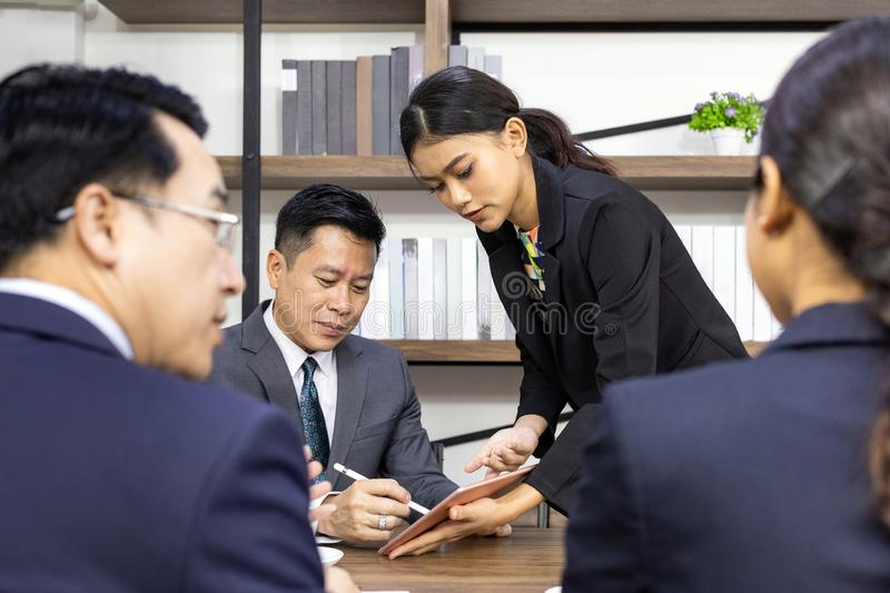 Business deal in cafe stock image