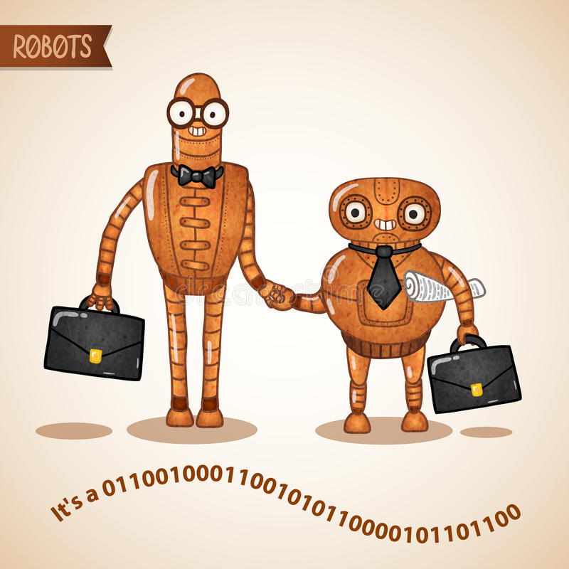 Business deal handshake concept. By two retro robots vector illustration royalty free illustration
