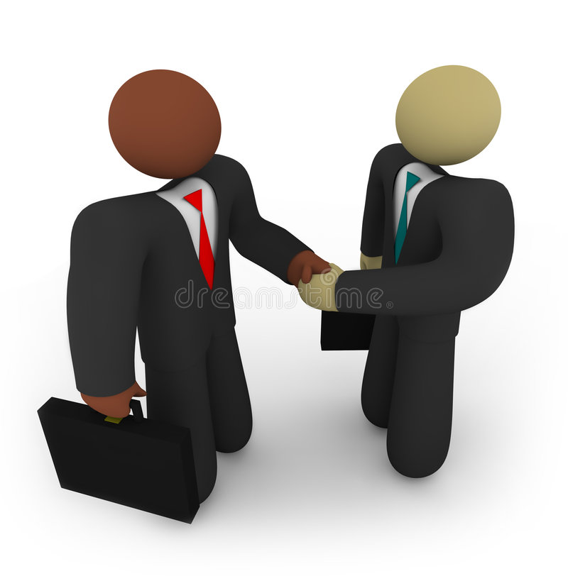 Business Deal - Racial Diversity. Two business people of different races shake hands vector illustration
