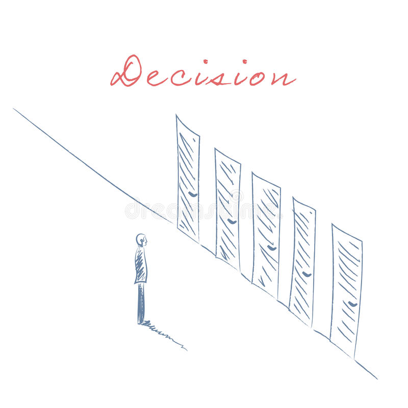 Business decision concept illustration. Businessman standing in front of doors as symbol for choice, career path or. Opportunities. Hand drawn sketch. Eps10 royalty free illustration