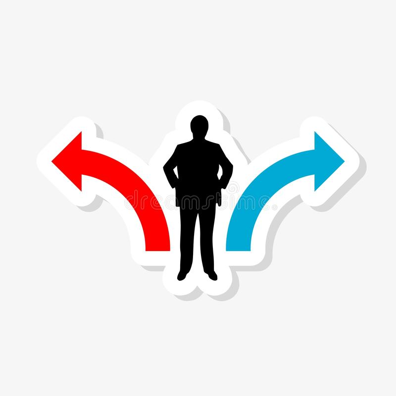 Business decision concept sticker illustration. Businessman standing on the crossroads with two arrows. On white background royalty free illustration