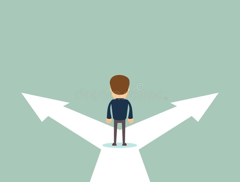 Business decision concept vector illustration. Businessman standing on the crossroads with two arrows and directions. Stock flat vector illustration stock illustration