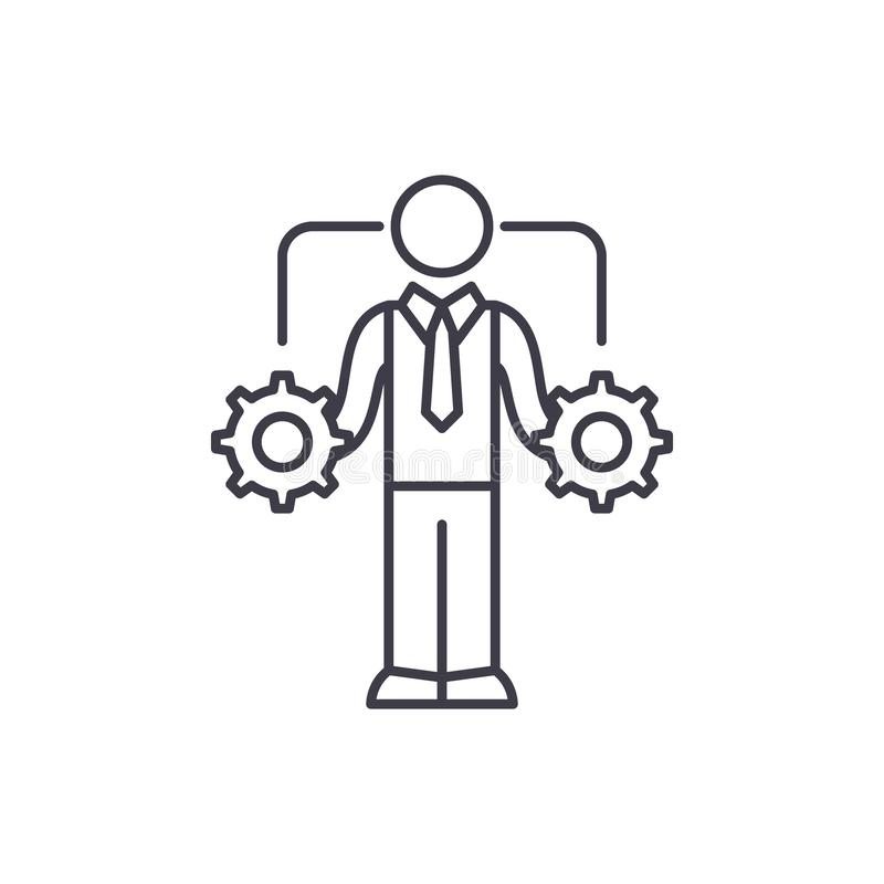 Business decision making line icon concept. Business decision making vector linear illustration, symbol, sign stock illustration