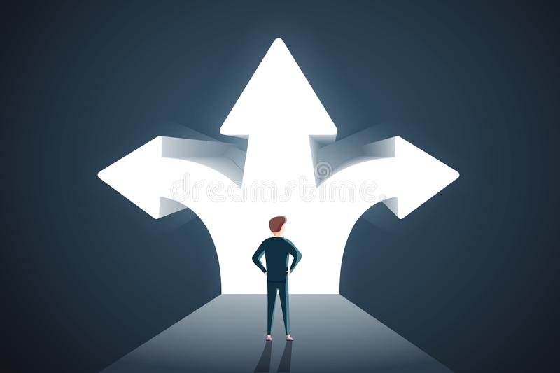 Business decisions concept. Vector of a perplexed businessman with question mark standing in front of arrows crossroads stock illustration