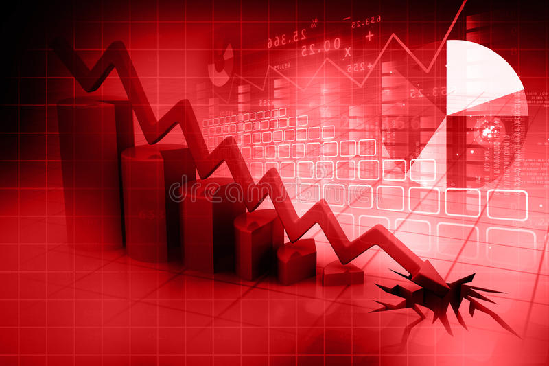 Business decline. 3d render of Graph showing business decline royalty free illustration