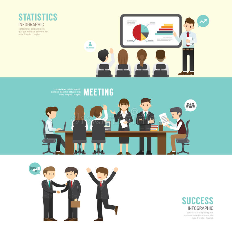 Business design conference concept people set presentation, trai. Ning, meeting, success, agreement or partnership. with flat icons. vector illustration