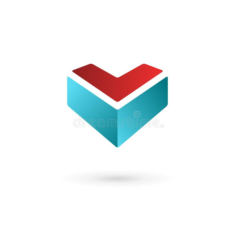 Business design template logo icon with letter V and heart royalty free illustration