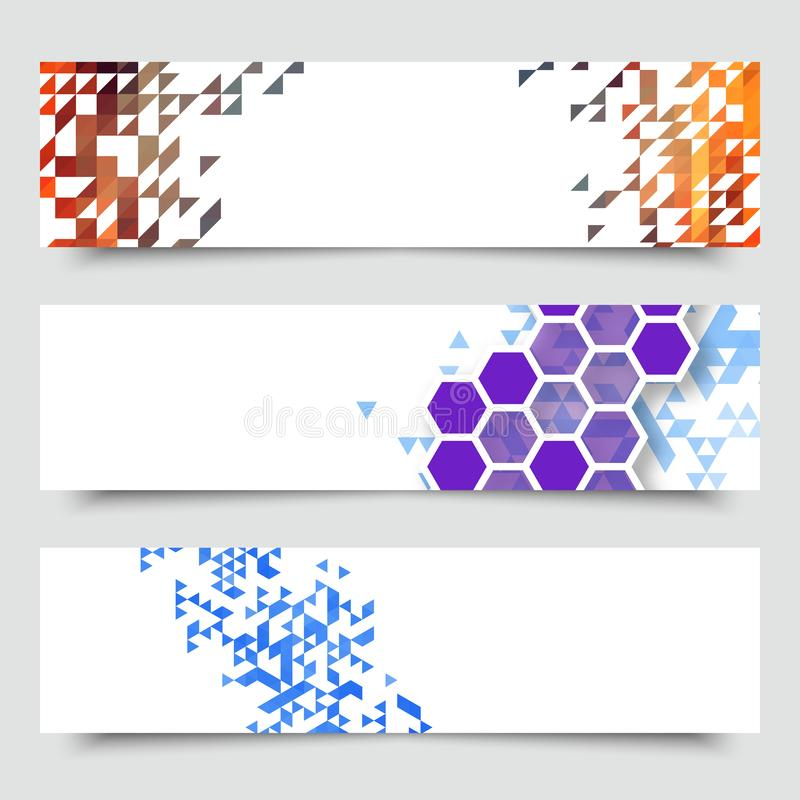 Business design templates. Set of Banners with Multicolored Polygonal Mosaic Backgrounds. Geometric Triangular Abstract vector illustration