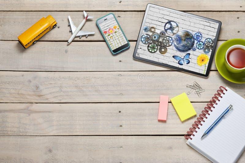 School Desk Tablet Technology Background stock photography