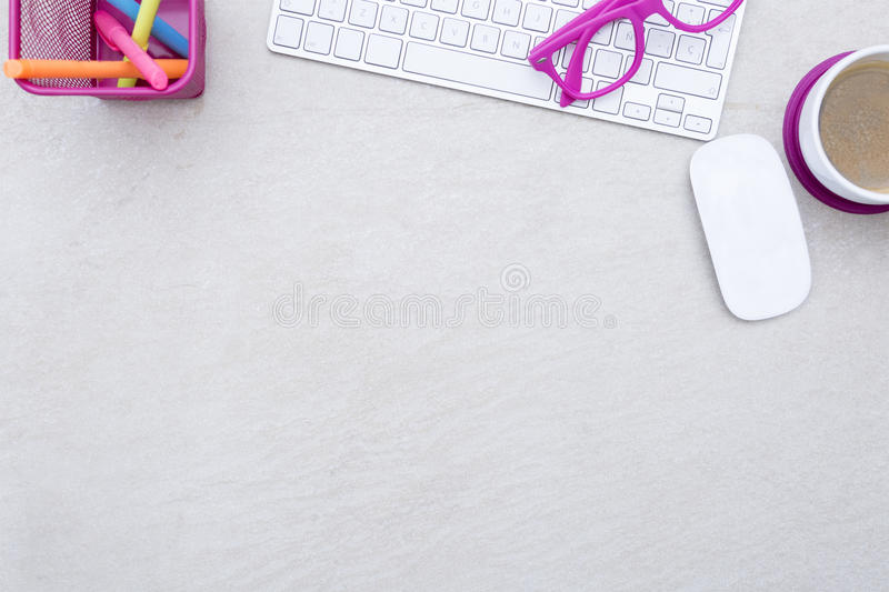 Business desk and a white keyboard royalty free stock image