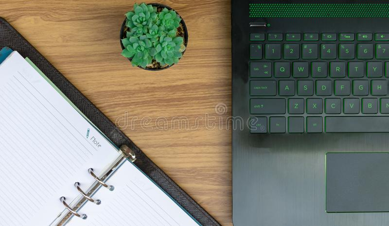 Business on the desk Working document paper. Laptops Computer Notebook royalty free stock photography
