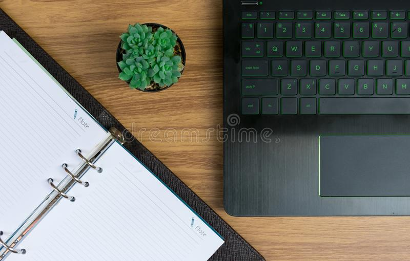 Business on the desk Working document paper. Laptops Computer Notebook stock images