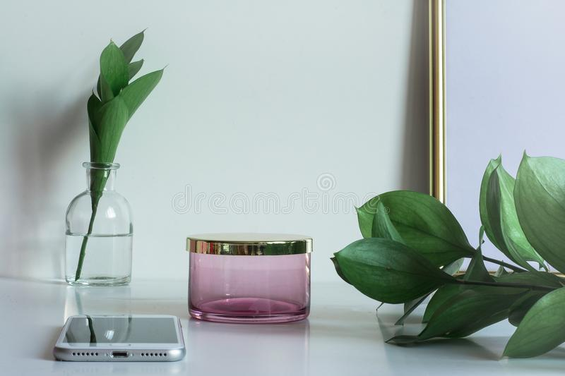Business desktop with copy space box and frame stock photo