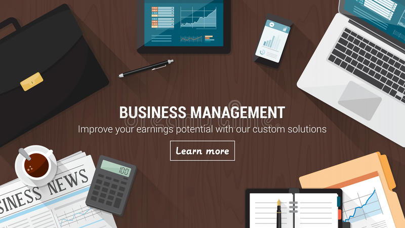Business desktop. With documents, computer and tools, financial occupation and stock market concept