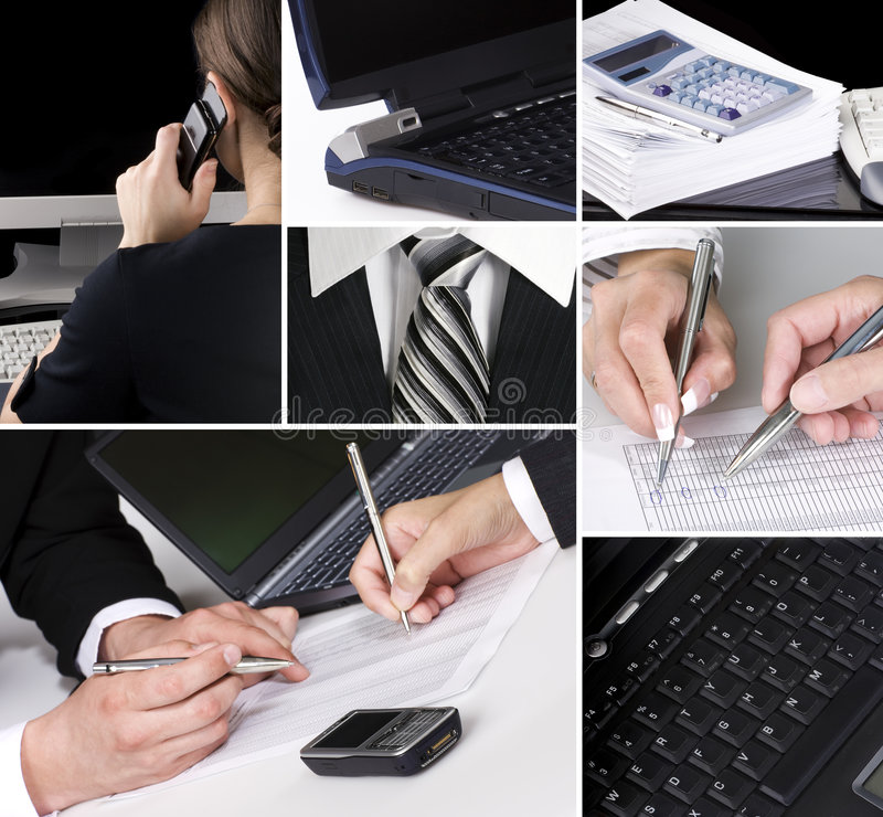 Business in details. Collage of several photos stock photo