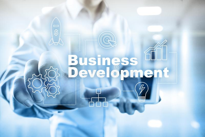 Business development concept, Strategy of growth on virtual screen. Business development concept, Strategy of growth on virtual screen stock image