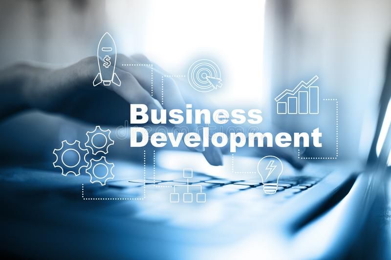 Business development concept, Strategy of growth on virtual screen. Business development concept, Strategy of growth on virtual screen royalty free stock photos