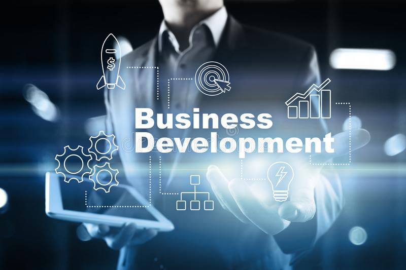 Business development concept, Strategy of growth on virtual screen. Business development concept, Strategy of growth on virtual screen royalty free illustration