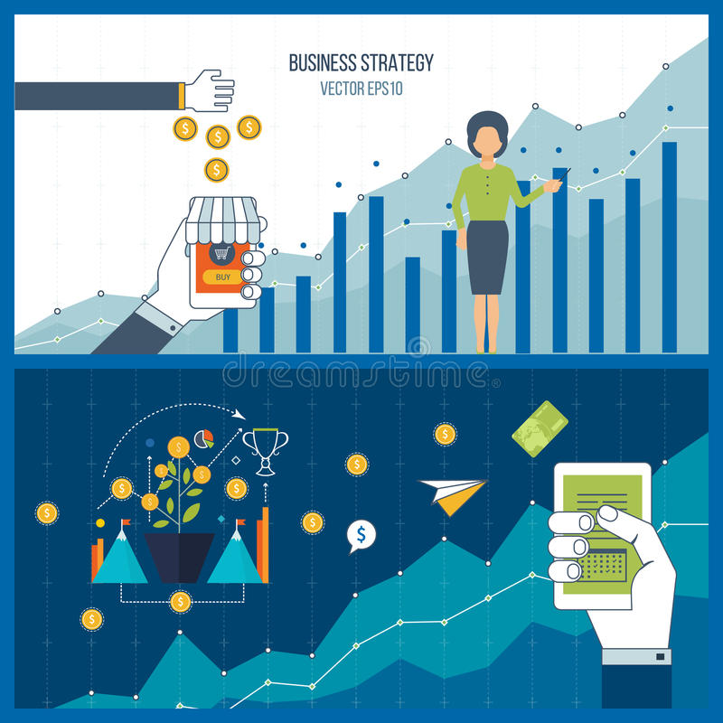 Business development. Financial report and strategy. Investment growth. Business development. Strategy of successful business development. Financial report and stock illustration