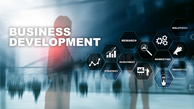Business Development Startup Growth Statistics. Financial Plan Strategy Development Process Graphic Concept.  stock images