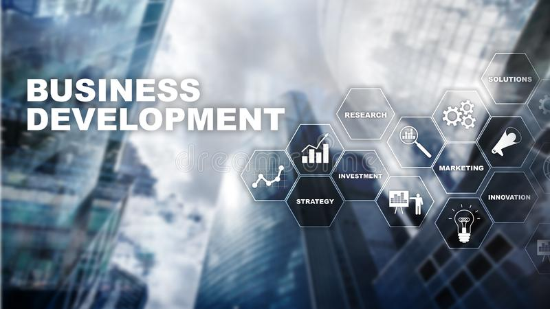 Business Development Startup Growth Statistics. Financial Plan Strategy Development Process Graphic Concept. Business Development Startup Growth Statistics vector illustration