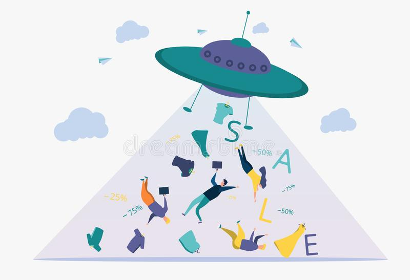 Business development strategy.Discount, deposit, installment plan.A metaphor of people, words, things flies out of a UFO. Business development strategy. Discount vector illustration