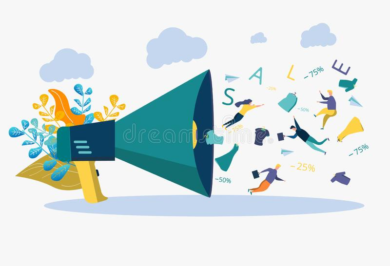 Business development strategy. Discount, deposit, plan. Metaphor of people, words, things fly out of the loudspeaker. Business development strategy. Discount stock illustration