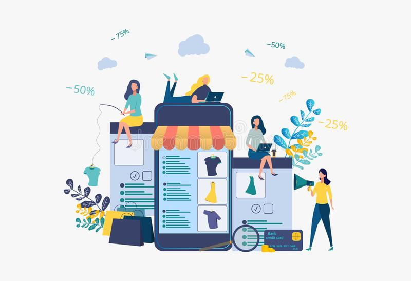 Business development strategy. Discounts on services, installment. Attracting customers, buyers. Online store. People catch things on the bait. Metaphor stock illustration