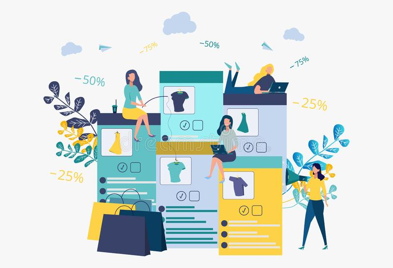 Business development strategy.Discounts on services, installment. Online store.People catch things on the bait. Metaphor. Business development strategy stock illustration
