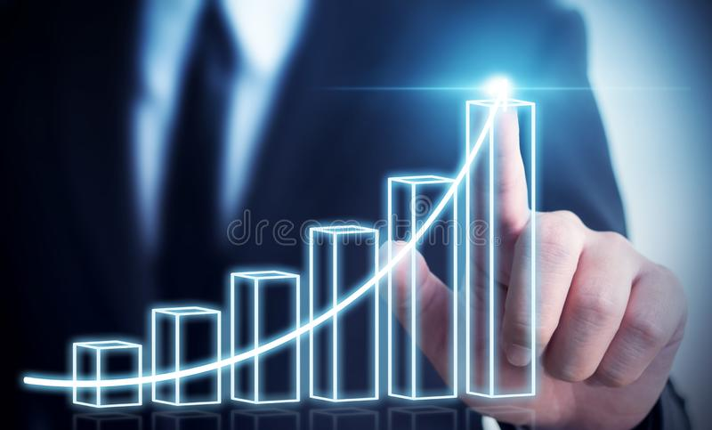 Business development to success and growing annual revenue growth concept, Businessman pointing arrow graph. Corporate future growth plan royalty free stock images