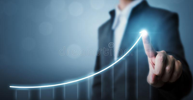 Business development to success and growing growth concept, Businessman pointing arrow graph corporate future growth plan royalty free stock images