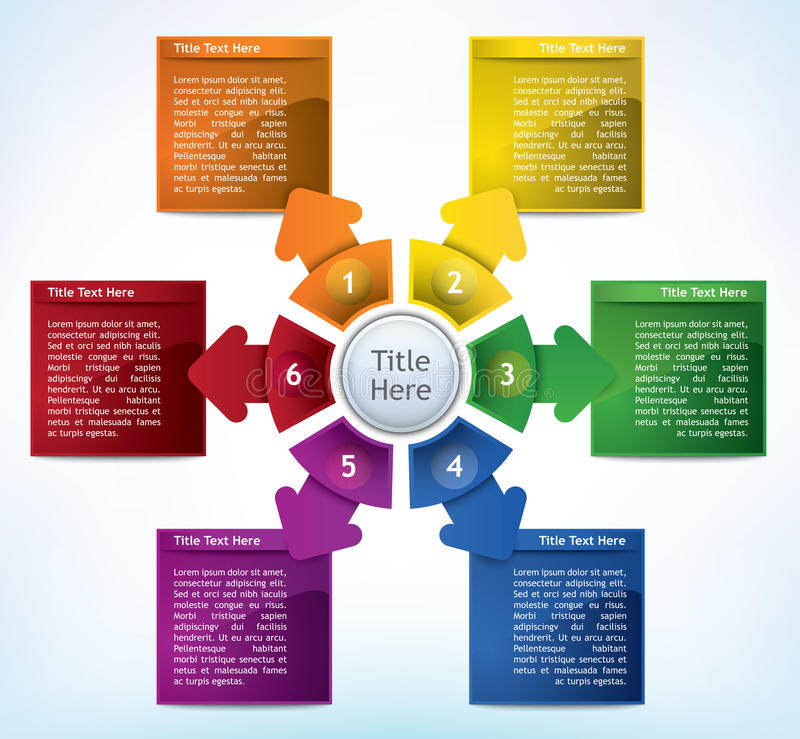 Business Diagram. Business Presentation Diagram with six different colored fields for text and statistics vector illustration