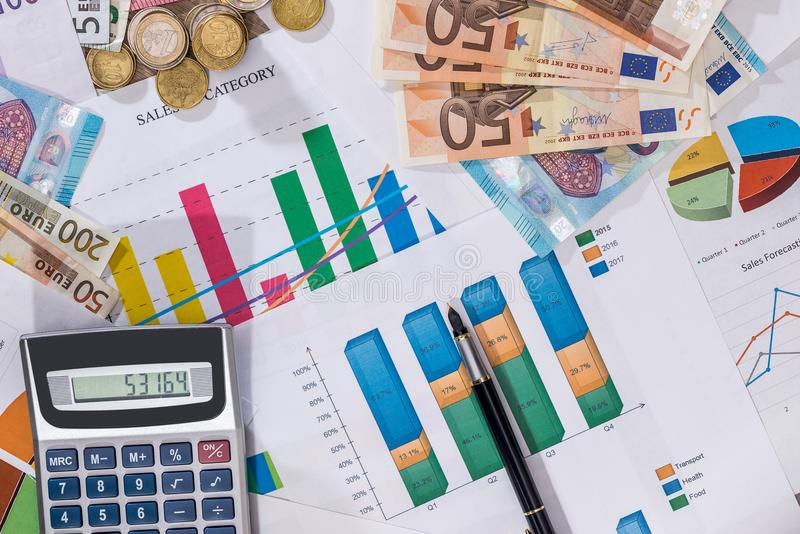 Business diagram with euro coins, euro bills royalty free stock image