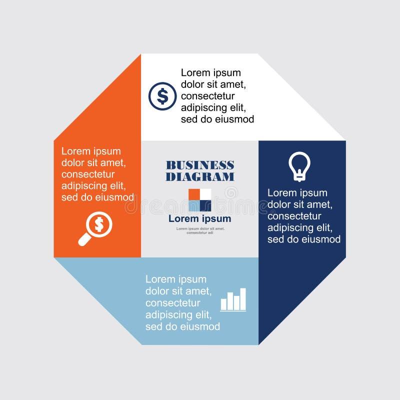Business Diagram octagon. Investments, dealers, concept, sign, , brokers, success, presentation, diagram, orange, scheme, finance, setting, process, drawing stock illustration