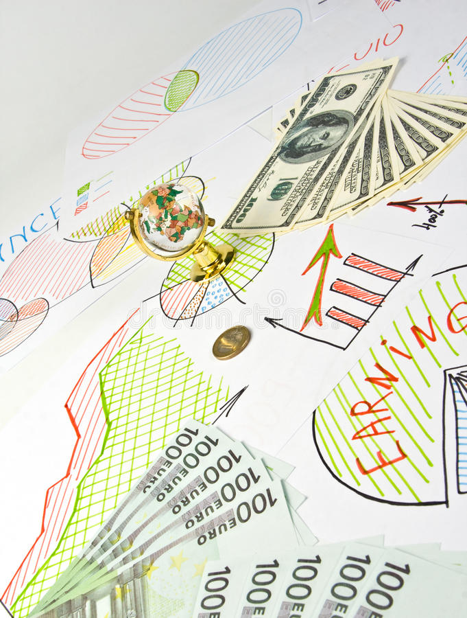 Business diagrams, globe and money royalty free stock image
