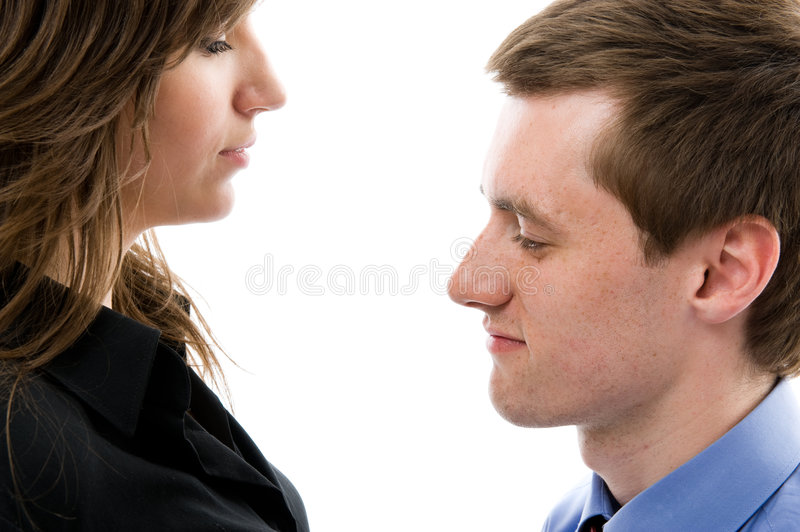 Download Business Dialogue. Young Man And Woman Talk. Stock Image - Image: 5459431
