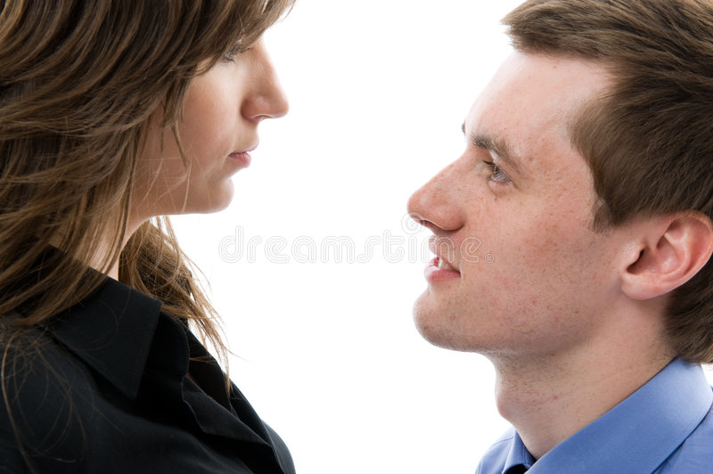Download Business Dialogue. Young Man And Woman Talk. Stock Image - Image: 5459461